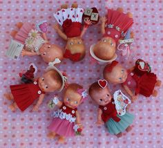 Vintage Style Valentine Doll Red and Turquoise. by MagpieEthel