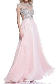 Blush Jeweled Mesh Top Ball Gown