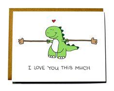 Popular items for love card on Etsy Funny Valentine, Valentine Day Cards, Dinosaur Cards, Cute Dinosaur, Raptor Dinosaur, Love You A Lot, Love You Cute, Cute Puns, Karten Diy