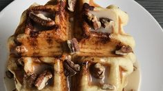 Maple Pecan Cinnamon Roll Waffles: When cinnamon rolls are baked in the waffle iron, you get a slightly crunchy outside, a warm center, and cinnamon covered waffle wells just waiting to be filled with frosting.