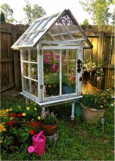 diy garden ideas Before you send your old windows straight to the landfill, consider recycling them into a project instead. Old windows can make a cute, inexpensive greenhouse that wil Miniature Greenhouse, Build A Greenhouse, Greenhouse Ideas, Old Window Greenhouse, Diy Small Greenhouse, Homemade Greenhouse, Indoor Greenhouse, Greenhouse Kits For Sale, Portable Greenhouse