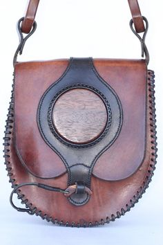 Beautiful, very large, vintage hand made hand boho hippie leather shoulder bag purse with natural wood accents MINTY
