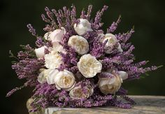 Bridal bouquet, Yorkshire Moors heather and white roses to represent Yorkshire - Photo by Ruth Mitchell Photography