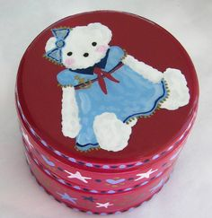 Hand Painted Love Boxes Sailor Bear Red by handpaintedloveboxes, $30.00