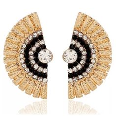"""ED16 Fanning Black Gold Crystal Ear Jacket Earring ‼️PRICE FIRM‼️   Fanning Crystal Earrings  GORGEOUS PAIR OF EARRINGS.  Love these!  Approximately 1.8"""".  Also available in other colors. Please check my closet for many more items including scarves, shoes, designer clothing, handbags & much more. Boutique Jewelry Earrings"""