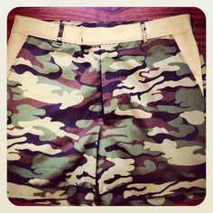 Camo Unisex Shorts with Leather trimming R350 USD40 ex delivery
