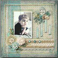Love the soft colors in this layout by Tracy Christine