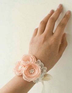 Weddings - Peach Flower Wrist Corsage Wedding Floral Bracelet by BelleBlooms Prom Flowers, Peach Flowers, Chiffon Flowers, Fabric Flowers, Wedding Flowers, Wrist Corsage Wedding, Bridesmaid Corsage, Bridesmaid Gifts, Prom Corsage