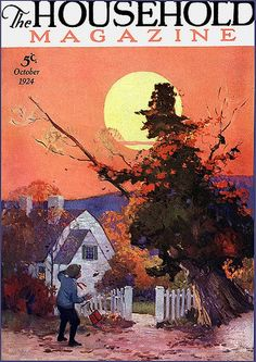 The beautifully illustrated October 1924 cover of The Household Magazine. #vintage #1920s #Halloween