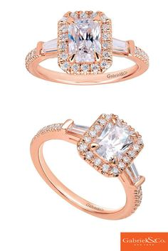 The perfect 14k Pink Gold Diamond Halo Engagement Ring by Gabriel and Co.to go with any wedding dress. A engagement ring just for a soon to be bride that loves pink.