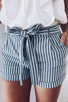 striped shorts + white blouse ootd. super cute for spring summer!