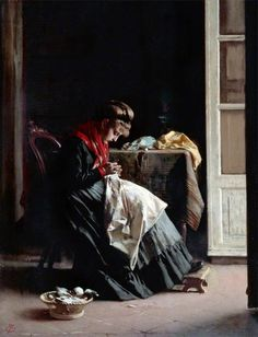 The Seamstress by Thomas Wade (1828–1891). Victorian seamstress
