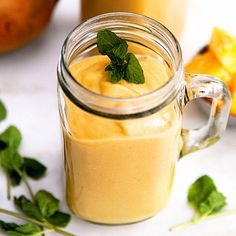 Mango White Bean Smoothie - so healthy but so tasty. Beans add creamy protein to this delicious smoothie! Raspberry Smoothie, Yummy Smoothies, Smoothie Recipes, Milk Smoothies, Simple Smoothies, Smoothie Bar, Vitamix Recipes, Breakfast Smoothies, Juice Recipes
