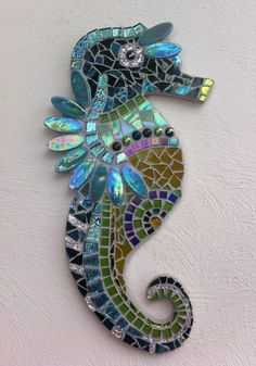 Homemade mosaic seahorse.