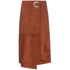 Tibi Wraparound suede skirt (91.200 RUB) ❤ liked on Polyvore featuring skirts, brown, below knee skirts, tie wrap around skirt, wraparound skirt, below the knee skirts and brown skirt