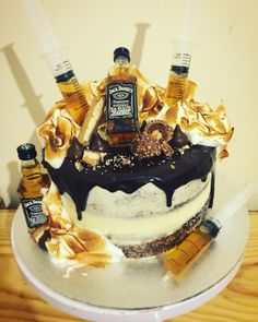 Chocolate mud cake filled with dark ganache, covered in vanilla buttercream, top. Birthday Cakes For Men, Boys 18th Birthday Cake, Novelty Birthday Cakes, Buttercream Birthday Cake, Vanilla Buttercream, Kreative Desserts, Alcohol Cake, Chocolate Drip Cake, 21st Cake