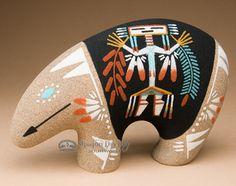 Native American Navajo Sand Painted Pottery -Bear (p640)