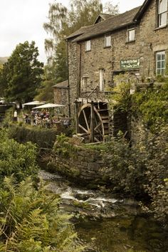 Ambleside ...The Old Mill Tea Rooms alongside the lower reaches of Stock Ghyll. Also known as The Giggling Goose