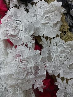 Set of 4 white embroidered on net sequined floral bridal dress 25cm 16cm