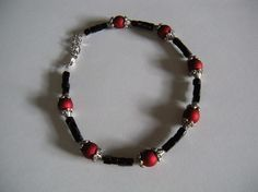 Handcrafted Pet Necklace in red and black by AllAboutElegance, $40.00