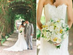 Katie + Andy | Ford's Colony Country Club, Williamsburg Virginia Wedding Photographers- Bouquet by Morrison's Flowers. This romantic, vintage bouquet in ivory, cream, pale yellow and gray included an out-of the ordinary pale yellow butterfly bush, tulips, white garden roses, dusty miller, Queen Anne's Lace and hydrangea.