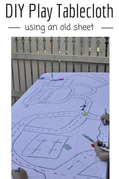 Make a Play Tablecloth out of an old sheet. Easy, fun and reusable.