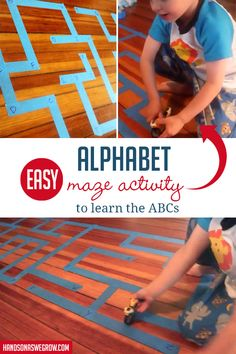 Kids love to move while learning! This alphabet maze activity will get your toddler or preschooler up and having fun while learning letters! Alphabet Activities Kindergarten, Learning Letters, Sensory Activities, Hands On Activities, Learning Activities, Preschool Activities, Literacy, Kindergarten Learning, Activities For 2 Year Olds