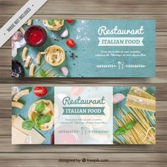 Discover thousands of free-copyright vectors on Freepik Food Graphic Design, Food Menu Design, Food Poster Design, Banner Design Inspiration, Web Banner Design, Italian Food Restaurant, Logos Retro, Food Banner, Flyer