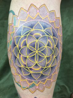 Sacred geometry leg piece.  Tattoo by Daemon Rowanchilde, 2015.  www.urbanprimitive.com