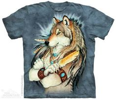 Golden Feather Wolf Wolves Native American The Mountain T Shirt Adult Sizes Arte Furry, Furry Art, Native American T Shirts, Native American Indians, Wolf Warriors, Tribal Wolf, Tribal Bear, Harley Davidson, Wolf T Shirt