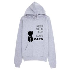 Keep Calm and Love Cats Unisex Men Women California Fleece Cotton Hoodie