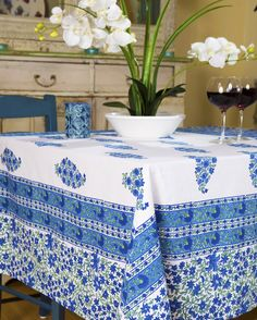 French Country Style Tablecloth - Unique Bohemian linens - Indian Tablecloth - Hand Block Printed from Attiser
