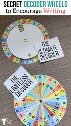 Secret decoder wheels that your kids will love. Make writing fun and mysterious as your kids use these decoder wheels to write and send secret messages! Message Secret, Message For Dad, Hands On Activities, Writing Activities, Activities For Kids, Library Activities, Code Secret, Escape Room Puzzles, Spy Party