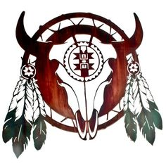 Steer Skull Native American Shield Southwestern Decor Metal Wall Art - Treasure Journeys 24 inches wide x 21 inches high. Great for the den or office. Southwestern decor.