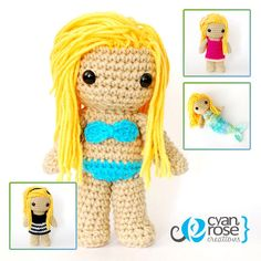 Beautiful Crocheted Doll  Crochet Amigurumi by CyanRoseCreations, $30.00