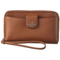 Coach Coach Small Leather Wristlet | Bluefly.Com ($105) ❤ liked on Polyvore featuring bags, handbags, clutches, saddle, genuine leather purse, real leather purses, brown leather handbags, top handle purse and leather wristlet purse