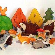 BIG SET Wooden woodland animals toys 9pcs Trees 5pcs | Etsy Zoo Toys, Farm Toys, Safari Animals, Forest Animals, Wooden Animals, Wooden Toys, Natural Toys, Dinosaur Toys, Waldorf Toys