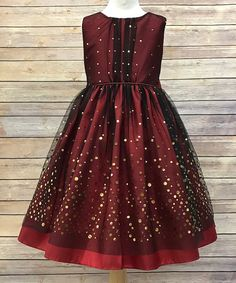 Look at this Burgundy Sequin A-Line Dress - Girls on #zulily today!