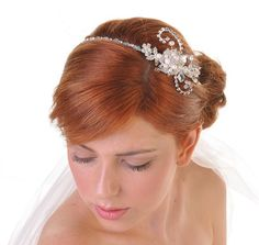 Wedding Side Tiara With A Gorgeous Fl Antique Look Feel Worn By Our Model Red Hair In Bun At The Back Of Her Head