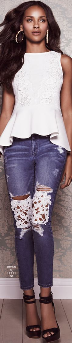 white blouse, blue jeans @roressclothes closet ideas women fashion outfit clothing style apparel