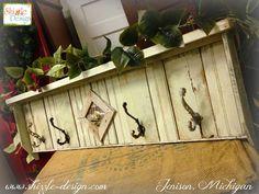 Suministros de pintura de Navidad 2014 ganchos perchero de madera recuperada estadounidense minorista Paint Company Shizzle Diseño Tiza muebles pintados clases MI 2