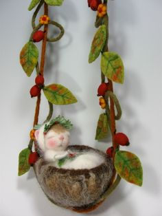 """Holly Fairy""  Needle Felted Fairy Mouse SOLD"
