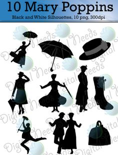 10 Mary Poppins Silhouettes Clip Art / png and by DigitalNeeds