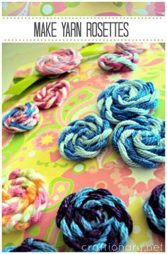 Make yarn rosettes #handmade_flowers