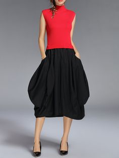 #AdoreWe #StyleWe Angel Eyes Red Statement Asymmetrical Pockets Sleeveless Midi Dress - AdoreWe.com