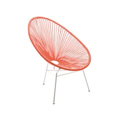 This fun and funky chair can be used outdoor or indoors. Its stretched webbing makes a comfy and unusual seat.