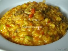 A comer y a callar: ARROZ CON VERDURAS, con thermomix Rice Recipes, Vegetarian Recipes, Cooking Recipes, Healthy Recipes, How To Cook Rice, Food To Make, Quinoa, Risotto, Cuban Cuisine