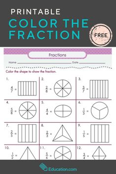Color the Fraction – Help your kids understand that fractions are part of a whole with this free printable. They'll love to practice fractions by coloring shapes. - Kids education and learning acts Education Quotes For Teachers, Quotes For Students, Quotes For Kids, Fractions Worksheets, Math Fractions, Learning Fractions, Multiplication, Maths, Elementary Science