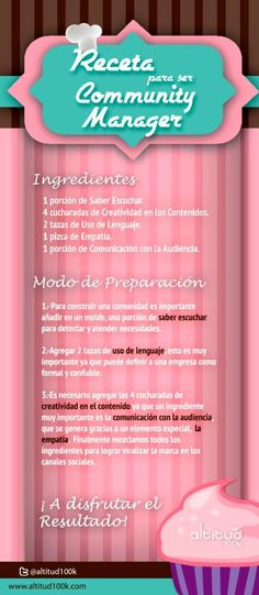 Una sencilla infografía, íntegramente en español, con las recetas para lograr ser un perfecto Community Manager y desempeñar de forma correcta sus tareas.