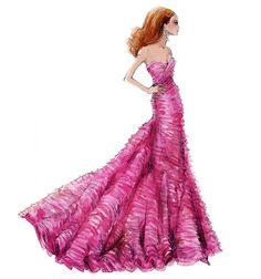 "Barbie Robert Best Print ""Layers of Magenta"""
